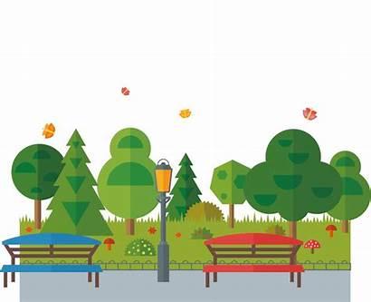 Park Cartoon Transparent Clipart Urban Bench Euclidean