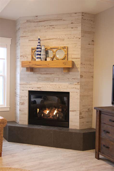 Wood Look Ceramic Tile Corner Fireplace   dundee decor