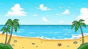 Tropical Beach Background Cartoon Clipart - FriendlyStock
