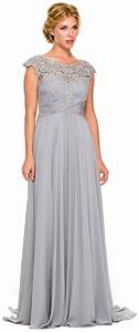 plus size silver formal gown cap sleeve empire waist full With formal dress for wedding plus size