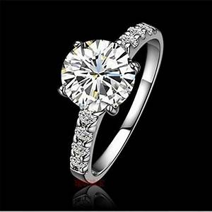 1ct solid gold 14karat four prongs fantastic synthetic With synthetic diamond wedding rings