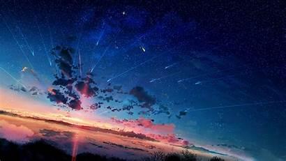 Shooting Star Anime 4k Sunset Scenery Horizon