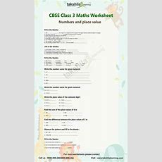 Cbse Class 3 Maths Numbers And Place Value  Practice Worksheet Class 3 Maths