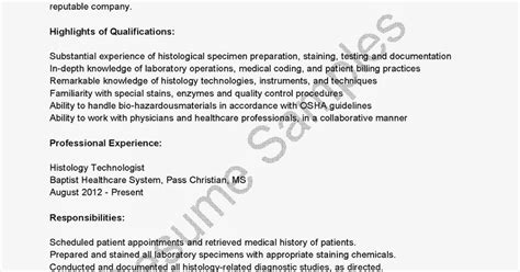 Histology Resume Format by Resume Sles Histology Technologist Resume Sle