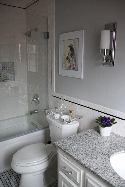 bathroom white subway tile black accent grey paint