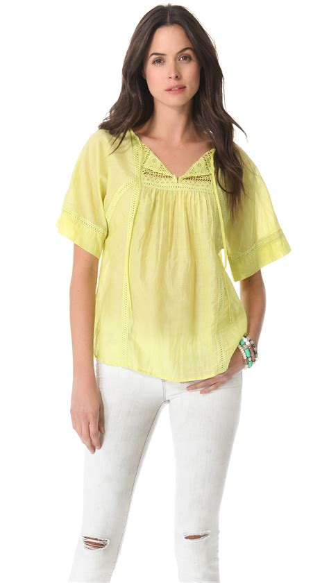peasant blouses twelfth cynthia vincent peasant blouse in yellow lyst