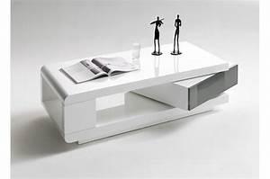 Table Basse Tiroir : table basse blanc laqu 1 tiroir cbc meubles ~ Teatrodelosmanantiales.com Idées de Décoration