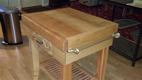 mobile kitchen island table rick 39 s butcher block island the wood whisperer