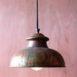 Perfect rustic pendant light in fluorescent ceiling