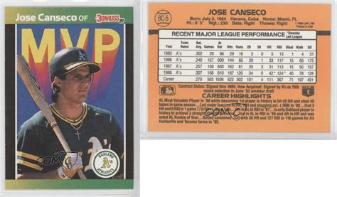 Check spelling or type a new query. 1989 Donruss MVP #BC-5 Jose Canseco Oakland Athletics Baseball Card | eBay