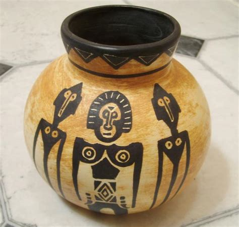 hand painted artist signed pottery andres  african tribal