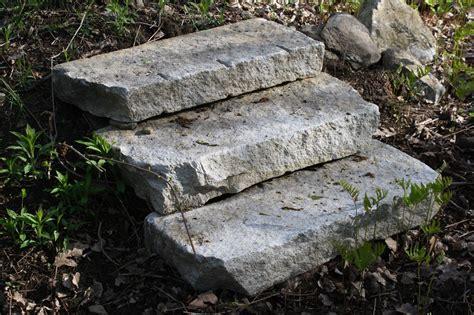 reclaimed granite curbing used as steps of new