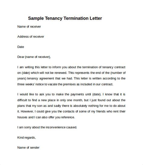 notice  vacate letter template business