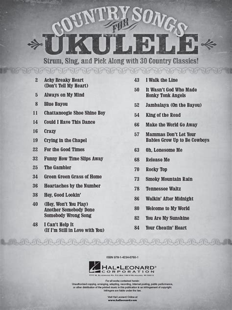 Hey, soul sister was written and performed by the san francisco rock band, train. Country Songs for Ukulele By : Various Authors : Ukulele Series : Softcover : Published by Hal ...