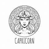 Capricorn Zodiac Coloring Horoscope Symbol Printable Steenbok Het Adult Vektorillustration Zodiaco Calendar Capricorne Zodiaque Symbole Signe Adulta Ragazza Materiale Colorare sketch template