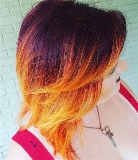 Fire Ombre On Short Hair Red To Orange And Yellow Ombre