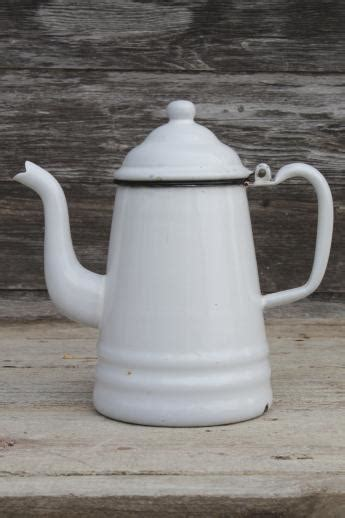 primitive vintage enamelware coffeepot  cup white