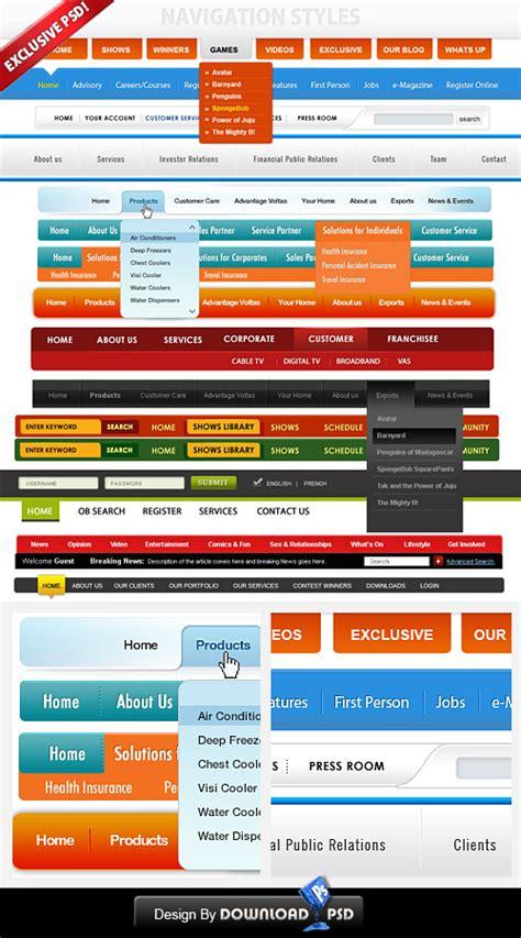 navigation bar templates 14 free custom web navigation menu psd template psd