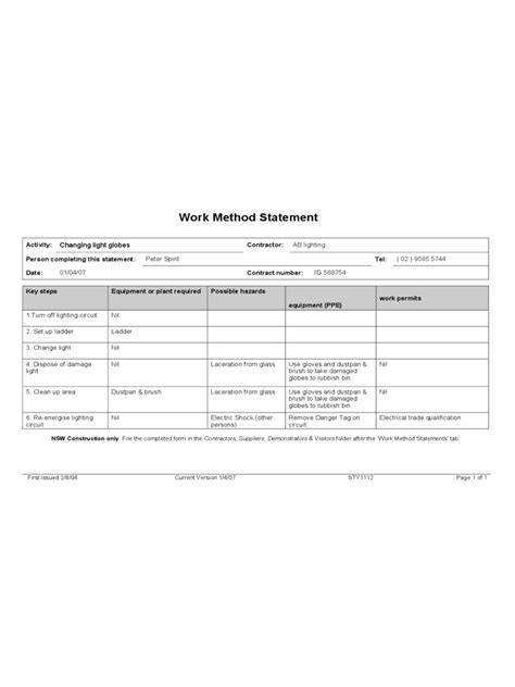 Method Statement - 6 Free Templates in PDF, Word, Excel