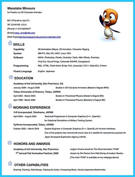 3d Animator Resume by Gambar 3d Artist Resumes Animator Cover Letter Sle