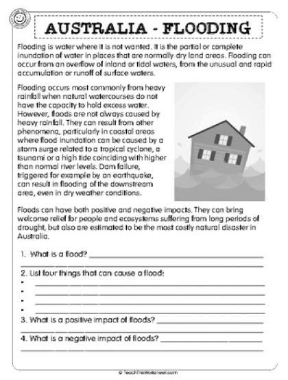 year 9 grammar worksheets australia australia flooding 2pg natural disasters english