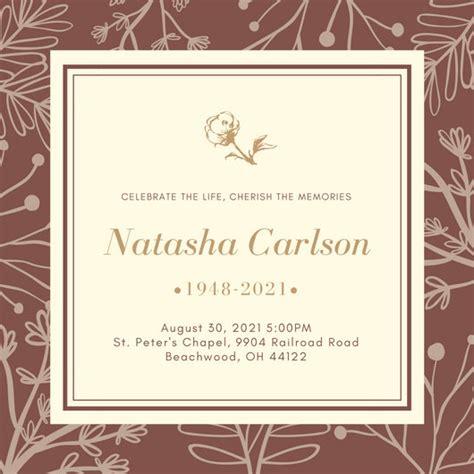 customize  funeral invitation templates  canva