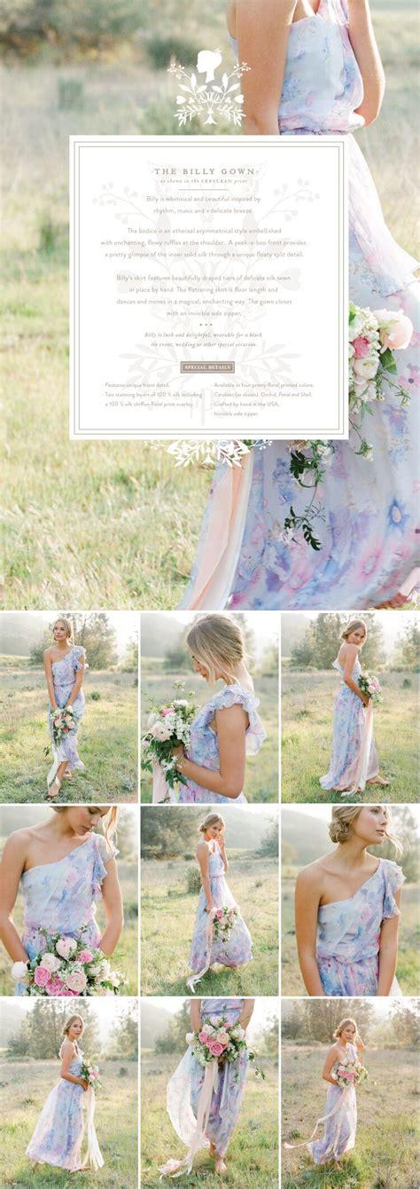 long mismatched wedding short floral watercolor