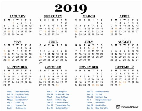 Year 2019 Printable Calendar Templates