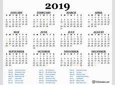 Year 2019 Printable Calendar Templates 123CalendarsCom