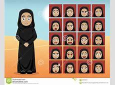 Arab Woman Cartoon Emotion Faces Vector Illustration Stock