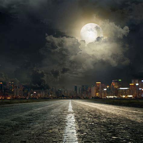 send rolled  night city backdrop super hero moon