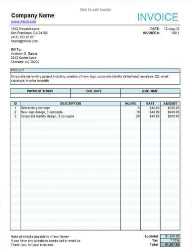 10 free freelance invoice templates word excel hloom