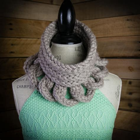 loom knit cowl pattern structural high fashion cowl
