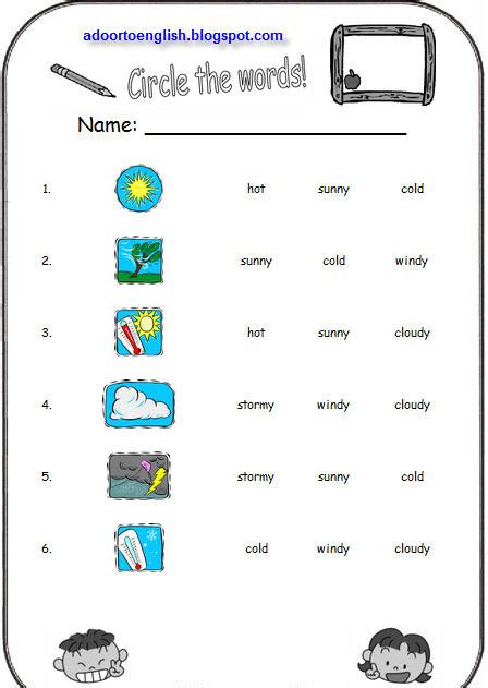 A Door To English Weather Worksheets