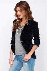 Chic Navy Blue Blazer - Velvet Blazer - Velvet Jacket - $61.00