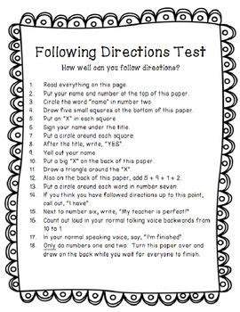 following directions trick test activity tpt freebie