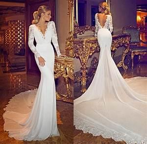 Sexy v neck long sleeve backless lace wedding dresses for Long sleeve v neck wedding dress