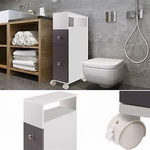 Meuble Rangement Gris : meuble rangement wc sur roulettes 2 tiroirs gris meubles et am nag ~ Teatrodelosmanantiales.com Idées de Décoration