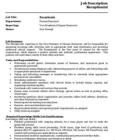 receptionist description on resume
