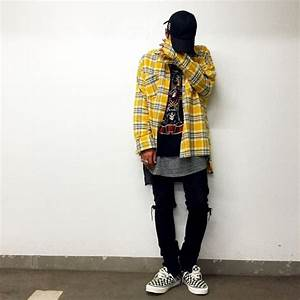2017 HIP hop yellow plaid shirts fashion street wear tartan shirts man hot selling oversize ...