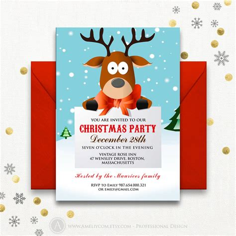 funny christmas party invitations printable reindeer kids