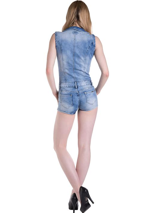 Sexy Womens Jeans Playsuit Jumpsuit Denim Hot Pants Shorts Overals Size 8 10 12 | eBay