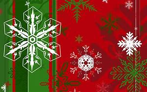 Snowflakes of different shapes on the green and red ...