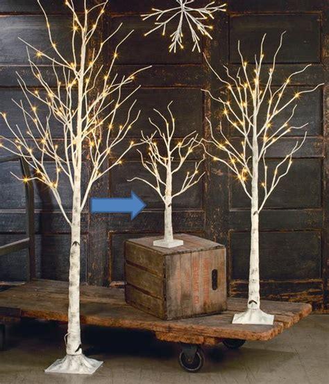 display tree small lighted white birch set