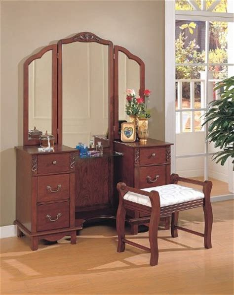 big makeup vanity dressing table mirrors cherry brown finish wood large