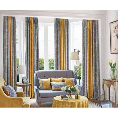 contemporary window valance mustard yellow and gray patterned modern room divider