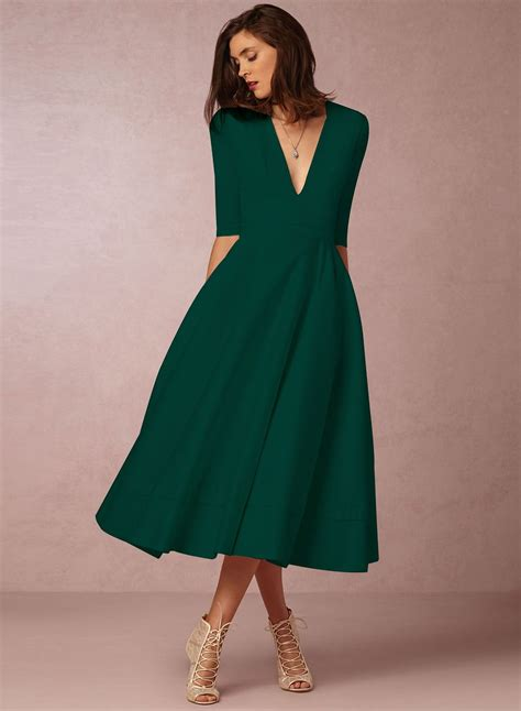 The Dress Is Featuring V Neck Half Sleeve Solid Color A