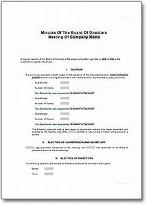 corporate minutes for board of directors meeting form to With corporate minute template