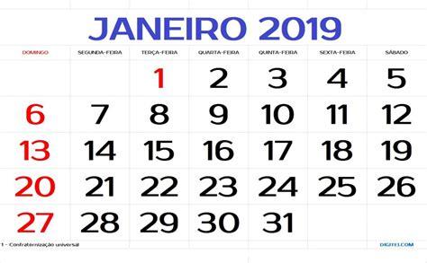 CalendÁrio Janeiro 2019 Para Imprimir Com Feriados