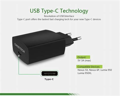 Choe 15w Usb Type C Charger With Reversible Usb Port(5v 3a